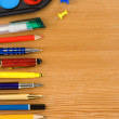 Back to school concept and supplies on wood — Stock Photo #11894074