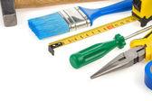 Set van tools op wit wordt geïsoleerd — Stockfoto
