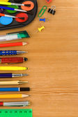 Back to school concept and supplies on wood — Stockfoto