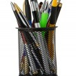 Colorful pens in holder isolated on white — Stock Photo #11938002