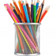 Colorful pencils in holder isolated on white - Stock Photo