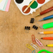 Stock Photo: School accessories on wood