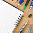 School accessories and checked notebook — Stock Photo #11938190