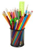 School accessoires in houder geïsoleerd op wit — Stockfoto