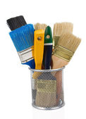 Paint brush and basket holder on white — Foto Stock