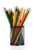 Tužky v držáku izolovaných na bílém — Stock fotografie