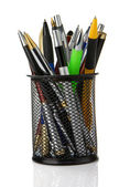 Colorful pens in holder isolated on white — Stock Photo