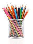 красочный карандаши в держатель, изолированные на белом фоне — Стоковое фото