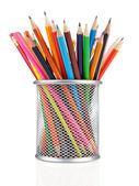 Färgglada pennor i hållare isolerad på vit — Stockfoto