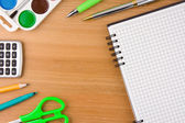 School accessories and checked notebook — Foto Stock
