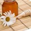 Pot of honey and flower on white - Stock Photo
