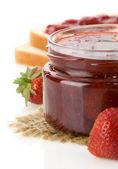 Strawberry jam isolated on white — Stock Photo