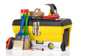 Set of tools and instruments in toolbox on white — Stock Photo