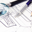 Drafing of crane hook with pencil and magnifier — Foto de Stock