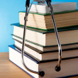 Pile of book and stethoscope — Stock Photo