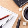 Foto Stock: Pen, pencil, cup of coffee and notebook