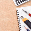 Pen, paper knife and pencil — Stock Photo