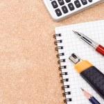 pen, papier mes en potlood — Stockfoto