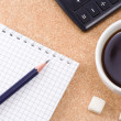 Pad, pencil and coffee — Stock Photo