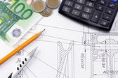 Pen and pencil, euro on drafting — Stock Photo