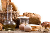 Bread, oil, spike and other bakery products on sacking — Stock Photo