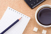 Pad, pencil and coffee — Foto Stock