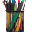 Holder basket full of colorful pens isolated on white — Stock Photo #12282280