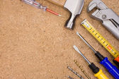 Tools and instruments on wood — Stock Photo
