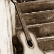 Image of guitar near steps — Stock Photo