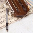 Pen at sheet of music — Stock Photo #12309547