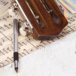 Pen at sheet of music — Stock Photo