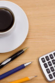 Coffee and pens — Stock Photo