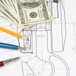 Pen and pencil, dollars on drafting — Stock Photo #12343530