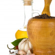 Garlic, onion and pepper in mortar and pestle — Stock Photo