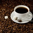 Cup of coffee on beans — Stockfoto