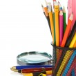 School accessories in holder on white — Stock Photo #12343600