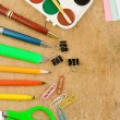 Foto Stock: School and office accessories on wood
