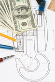 Pen and pencil, dollars on drafting — Stock Photo