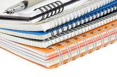 Inkt pen op stapel van notebook op wit — Stockfoto