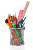 School accessories in holder on white — Stock Photo