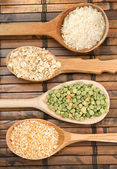 Rice, pea and oat in spoon — Stock Photo