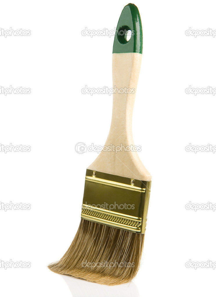Wooden paintbrush isolated on white background — Stock Photo #12343603