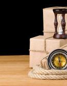 包み、黒に分離されたロープ — ストック写真