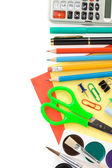 School supplies isolated on white — Stock Photo