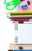 Zpátky do školy a školní doplňky na bílém pozadí — Stock fotografie