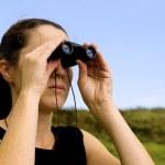 Woman With Binoculars — Stock Photo #10779401
