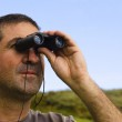 Man With Binoculars — Stock Photo