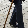 Concept Photo - Old and Elderly Life - Walking Cane Stick — Stock Photo