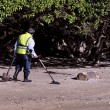 Royalty-Free Stock Photo: Man Search for Metals with Metal Detector