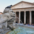 Pantheon and Fountain in Rome, Italy - Stock Photo